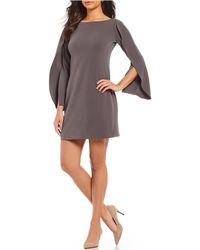Adrianna Papell - Knit Crepe Origami Sleeve Shift Dress - Lyst