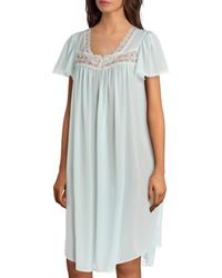 Miss Elaine Silk Essence Solid Short Nightgown - Blue