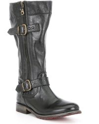 Bed Stu - Gogo Lug Wide Calf Leather Double Zip Strap Harness Detail Boots - Lyst