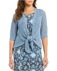 Ruby Rd. - Petite Size Elbow Sleeve Pointelle Sweater Cardigan - Lyst