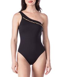 Kenneth Cole - Chain Reaction One-shoulder Tummy Toner One-piece Swimsuit - Lyst