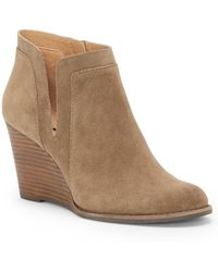 Lucky Brand - Yabba Suede Wedge Booties - Lyst