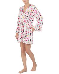 Betsey Johnson - Icons & Love Printed Hoodie Short Wrap Robe - Lyst