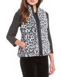 Ruby Rd. - Zip Front Animal Print Reversible Vest - Lyst