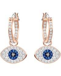 Swarovski Duo Evil Eye Rose-goldplated Hoop Earrings - Multicolor
