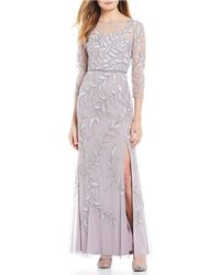 Adrianna Papell Embellished Illusion Gown - Gray
