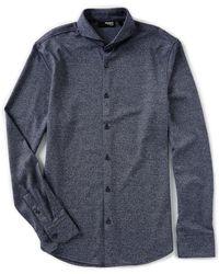 Murano - Slim-fit Jaspe Stripe Coatfront Long-sleeve Woven Shirt - Lyst