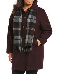 London Fog - Plus Single Breasted Wool Coat With Scarf - Lyst