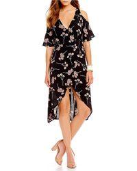 Flynn Skye - Devon Floral Print Faux Wrap Style Midi Dress - Lyst