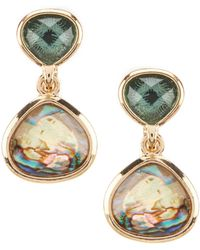 Anne Klein - Abalone Clip Earrings - Lyst