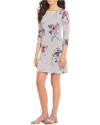 Joules - Riviera Floral Stripe Print Dress - Lyst