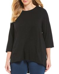 Ruby Rd. - Plus Size Solid 3/4 Sleeve Hi-low Knit Top - Lyst