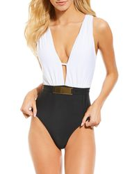 0c4d05a1d3 Antonio Melani - Solid Two Tone Hardwear Belted Plunge One Piece Swimsuit -  Lyst