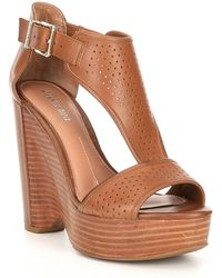 1ad85791ba3 Gianni Bini - Byrklee Burnished Leather Perforated Wedges - Lyst