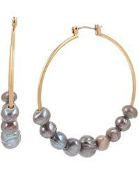 Robert Lee Morris Pearl Hoop Earrings - Gray