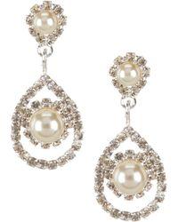 Cezanne - Framed Daisy Pearl & Rhinestone Teardrop Earrings - Lyst