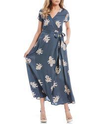 965f186689 Roxy - District Day Floral Wrap Midi Dress - Lyst