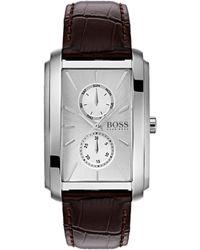 BOSS Boss Ambition Brown Croco Strap Rectangular Dial Multifunction Watch