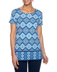 Ruby Rd. - Petite Size Embellished Scoop Neck Batik Diamond Border Print Knit Top - Lyst