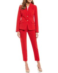Tahari - Pebble Crepe Stand Collar Cropped Pant Suit - Lyst