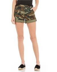 Sanctuary Explorer Camouflage Cuffed Shorts - Green