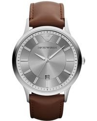Emporio Armani - Stainless Steel 3 Hand And Date Leather Strap Watch - Lyst