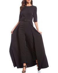 Kay Unger Stretch Crepe Belted Walk Thru Jumpsuit - Black