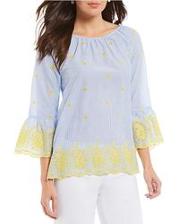Ruby Rd. - Petite Size Stripe Raglan Bell Sleeve Floral Eyelet Embroidered Trim Top - Lyst
