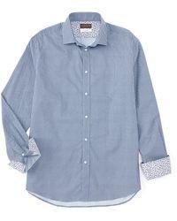 Thomas Dean Geo Circle Print Long-sleeve Woven Shirt - Blue