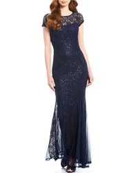 Marina Illusion Round Neck Sequin Lace Cap Sleeve Godet Gown - Blue
