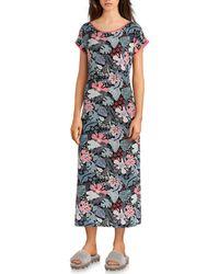 Sesoire Floral Print Modal Long Gown - Black