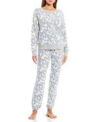 Splendid Autumn Bloom Cozy Brushed Jersey Pajama Set - Multicolor