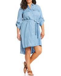 Jones New York - Plus Size Tie Waist Hi-low Button Front Shirt Dress - Lyst