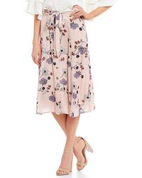 Blu Pepper - Floral Printed Bow Front Midi Skirt - Lyst