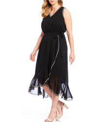 Vince Camuto Plus Size Sleeveless Ruffled Embroidered Trim Belted Midi Dress - Black