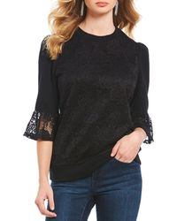 Ivanka Trump - French Terry Ruffle Lace Trim Top - Lyst
