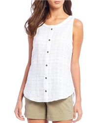 Columbia Summer Ease Sleeveless Button Front Shirt - White