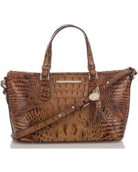 Brahmin - Toasted Almond Collection Mini Asher Tasseled Crocodile-embossed Tote - Lyst