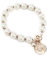 Lauren by Ralph Lauren - Oxford Crest Logo Pearl Bracelet - Lyst