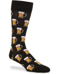 Hot Sox Novelty Beer Crew Socks - Black