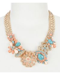 Belle By Badgley Mischka | Fancy Multi Stone Frontal Statement Necklace | Lyst