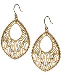 Lucky Brand - Gold Openwork Pave Drop Earrings - Lyst