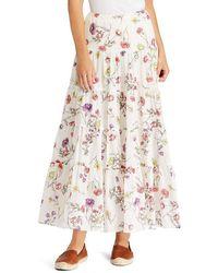 Lauren by Ralph Lauren - Tiered Floral Print Cotton-blend Skirt - Lyst