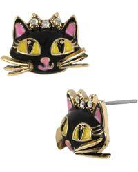 Betsey Johnson - Cat Stud Earrings - Lyst