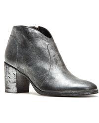 Frye - Nora Zip Painted Metallic Short Block Heel Booties - Lyst