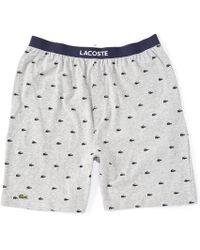 Lacoste Authentic Print Knit Pyjama Shorts - Gray