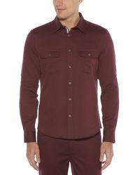 Perry Ellis - Solid Untucked Twill Roll-sleeve Woven Shirt - Lyst