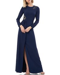 Kay Unger Long Sleeve Stretch Crepe Gown - Blue