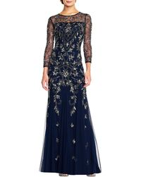 Adrianna Papell Beaded 3/4 Sleeve Gown - Blue