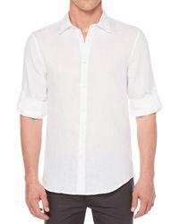 Perry Ellis - Solid Linen Long-sleeve Woven Shirt - Lyst